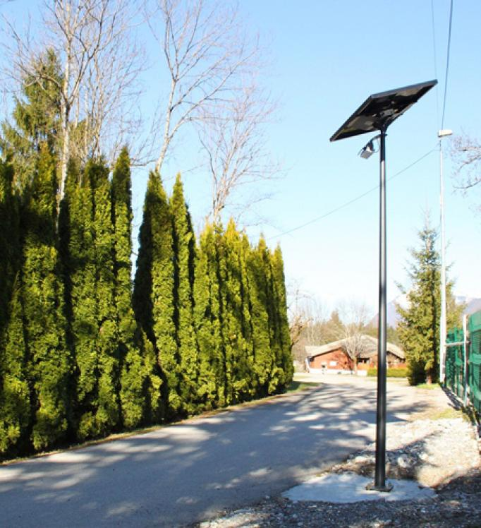 A campsite equipped with solar streetlighting
