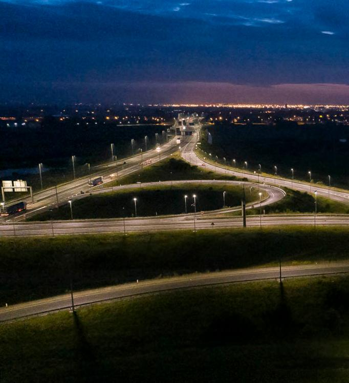 A motorway interchange with solar lighting in Calais