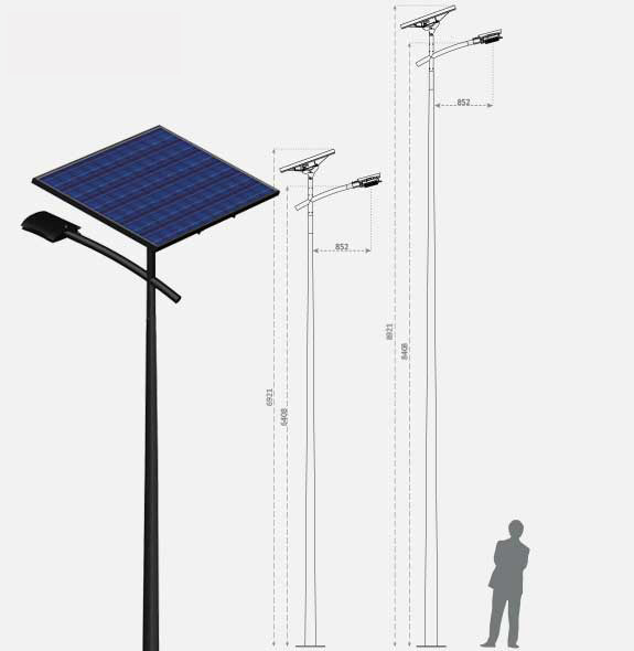Illustration of the height of a Fonroche Lighting's solar street lamp compared to a man size