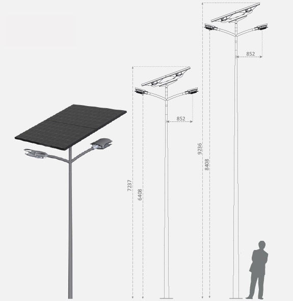 Illustration of a Fonroche Lighting off-grid solar street light, measuring 6 to 8 meters in height.