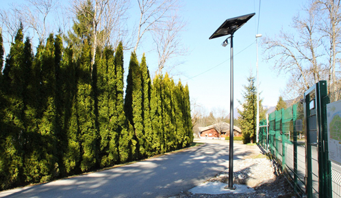 A campsite equipped with energy-powered solar lighting