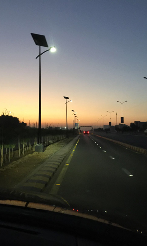 A road in Karachi equipped with off-grid solar streetlight