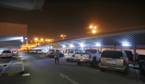 Koweit City's airport parking lot is lighted by Fonroche Lighting's standalone solar street lights